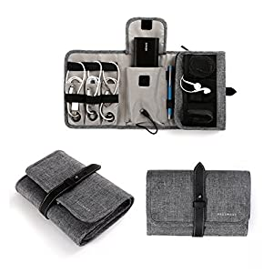 51E0ds9k1oL. SS300  - BAGSMART Compact Travel Cable Organizer Portable Electronics Accessories Bag Hard Drive Case for Various USB, Phone, Charger, Grey