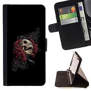 Momo Phone Case / Flip Funda de Cuero Case Cover - Floral del cráneo de Rose - Goth - LG G3