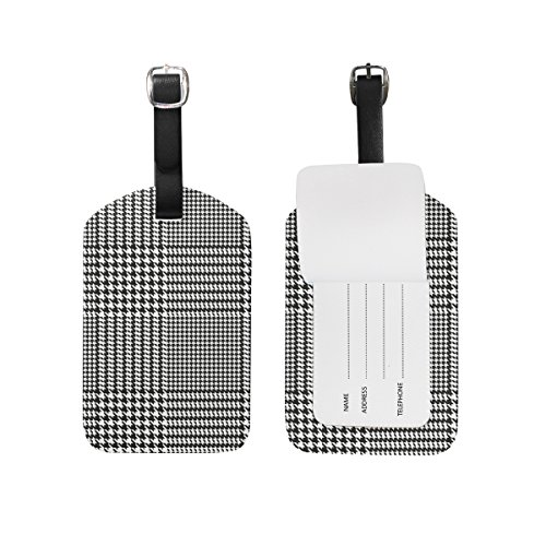 Chen Miranda Houndstooth Geometric Pattern Luggage Tag PU Leather Travel Suitcase Label ID Tag Baggage claim tag for Trolley case Kid's Bag 1 Piece