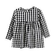 BOBORA Little Kids Baby Girls Long Sleeve Dress White and Black Plaid Skirt