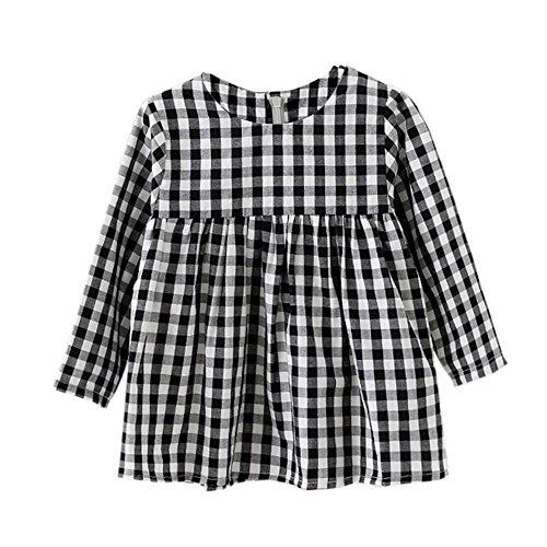 (BOBORA Little Kids Baby Girls Long Sleeve Dress White and Black Plaid Tunic Dress)