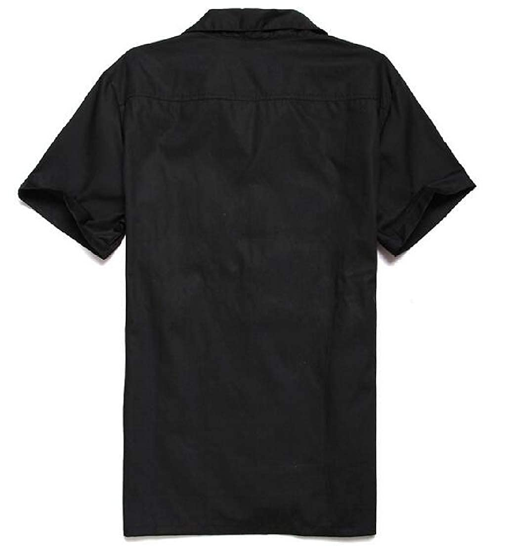 BU2H Men Splice Leisure Contrast Steampunk Hipster Button Shirt Blouse Tops
