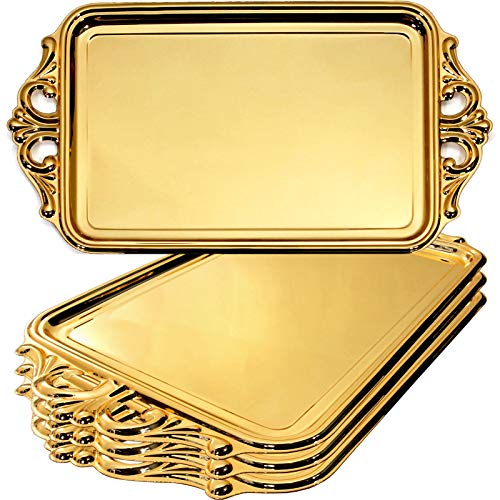 Maro Megastore (Pack of 4) 20.9-Inch x 11.4-Inch Unique Rectangular Vintage Iron Gold Plated Serving Tray with Handle Decorative Wedding Birthday Buffet Party Dessert Food Snack Platter 165 Tla-036