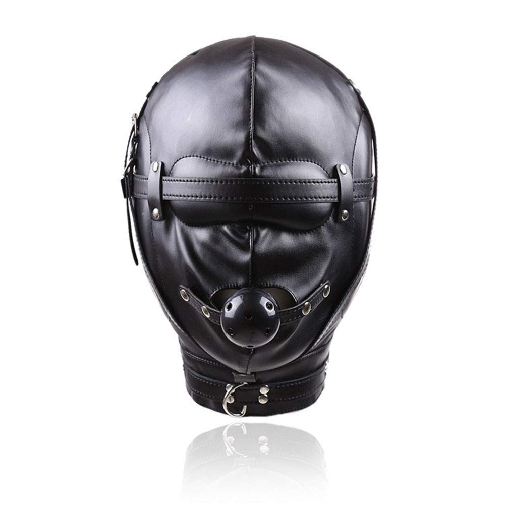 LWYJ Adult Erotic Eyes Mask Mouth Ball Gag Leather Full Face Cover Breathable Blindfold Sexy Suit Headgear Games Toys Mask by LWYJ