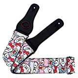 Girly Cute And Lovely Unique Design Pure Cotton Cartoon Guitar Strap (Cat White)