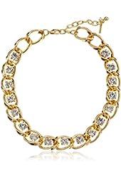 "Steve Madden ""Glitz Glam"" Crystal Gold Link Chain Necklace"