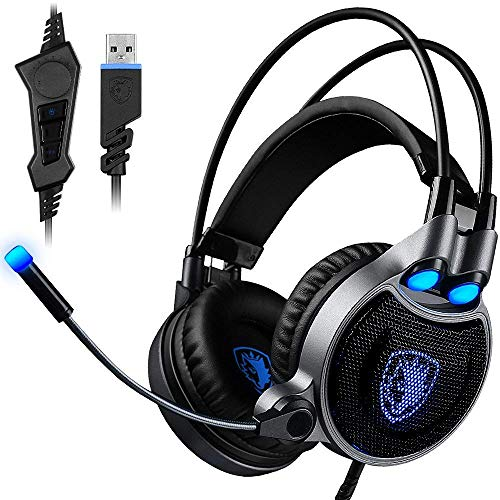 Tankard USB Gaming Headset for PC Laptop Mac, 7.1 Virtual Surround Sound Stereo Wired Headphone with Microphone in-line Control (Black/Blue)