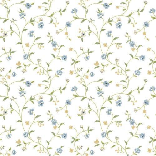 York Wallcoverings ER8186 Waverly Cottage Bellisima Vine Wallpaper, White / Light Blue / Yellow Green / Beige