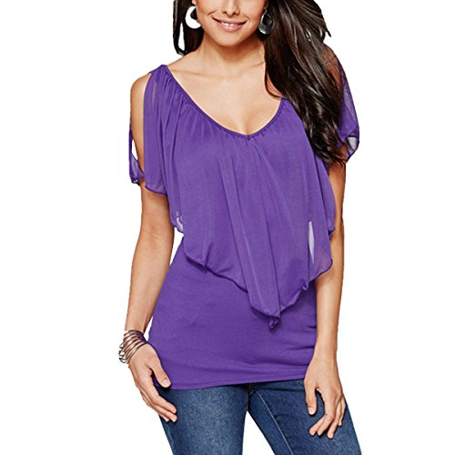 T con Pipistrello Lunghe Shirt Camicetta Manica Scoperte a Chiffon a in Spalle Volant Maniche Purple rCrZwtSqn