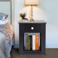Nightstand with Drawer and Shelf Storage Multipurpose End Table Home Furniture, Black