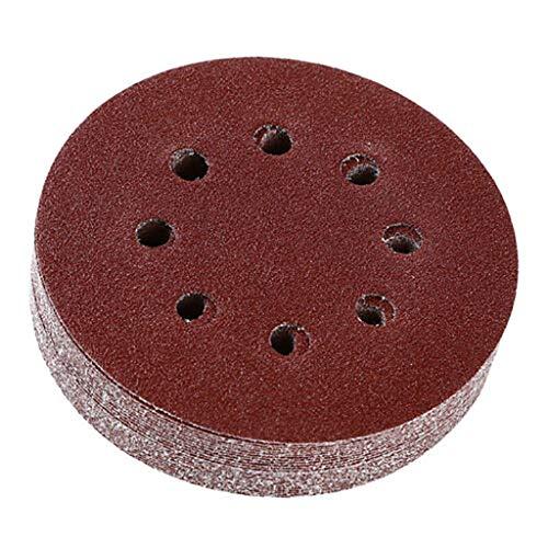 (Little Story  Flocking Sandpaper, Air Mill Flocking Round Sandpaper 5 Inch 8 Hole Back Velvet Disc Sandpaper)