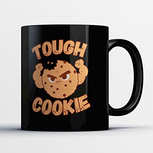 Teacher Coffee Mug - Tough Cookie - Funny 11 oz Black Ceramic Tea Cup - Humorous and Cute Teachers Gifts with Teacher (Half Good Half Bad Angel Costume)