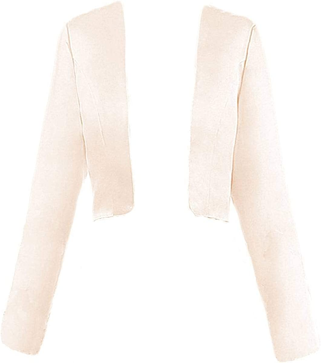 DINGZAN Satin Long Sleeve Jacket Formal Dress Shrugs Bridal Mother Cardigan