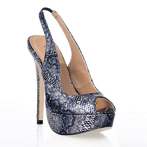la de nouveaux serpent Sandales peau Black imperméable noir pointe haute produits chaussures poisson femme Taiwan chaussures de talon d'été Rqq0v