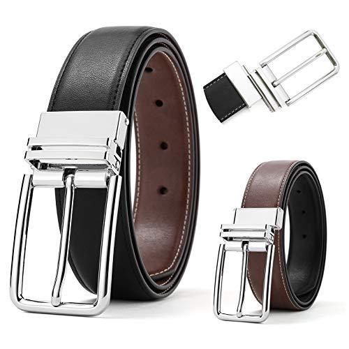 Reversible Belts for Men SOPONDER 50 Belt 47&48 Waist Size Adjustable Big and Tall Mens Genuine Leather Belts for Jeans Khakis Formal Dress Suit Work Pants