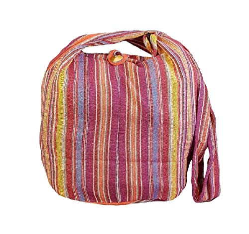 BTP! Thai Cotton Sling Bag Purse Crossbody Messenger Hippie Hobo Hand Woven Ikat (Stripe A21)