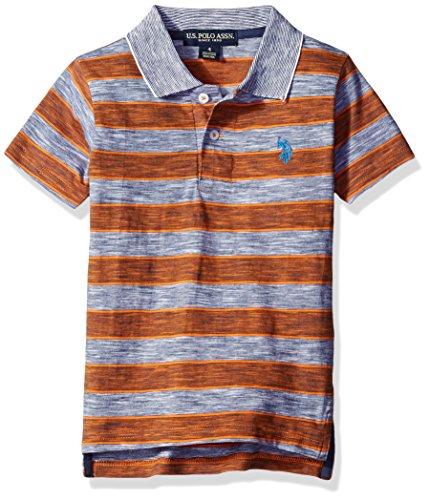 - U.S. Polo Assn. Little Boys' Space Dyed Striped Shirt, Stanton Orange, 5/6