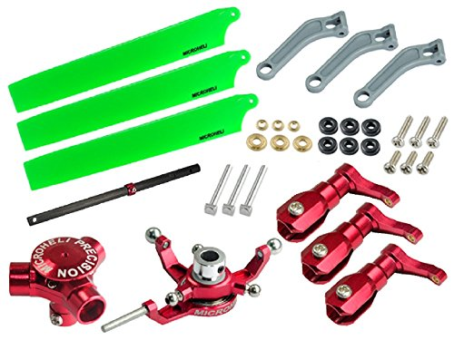 (Microheli CNC AL/Plastic Triple Green Blade Conversion set (RED) - BLADE 200 SRX/ 200 S)