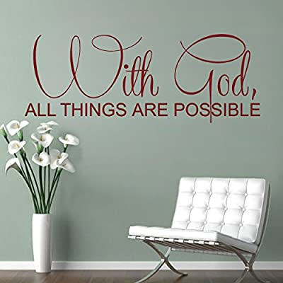 Bible Wall Decal Christian Wall Quote Religious Wall Sticker Words Vinyl Home Art Decor - With God all things are possible