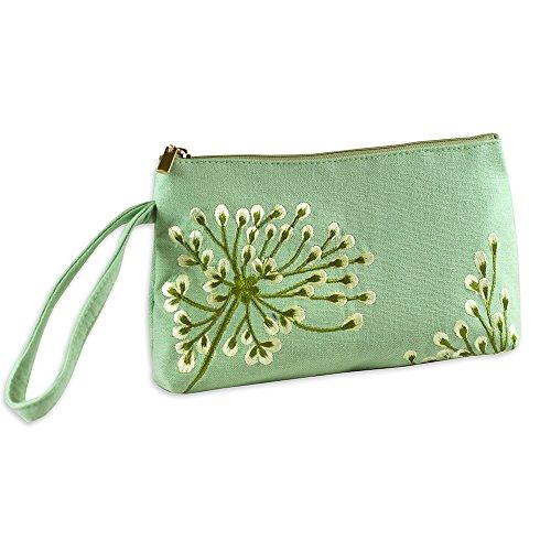 Green Wristlet - Wristlet Purse - Embroidered Dandelion (Deep Sea-Bronze)