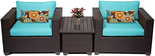 TK Classics 3 Piece Belle Outdoor Wicker Patio Furniture Set