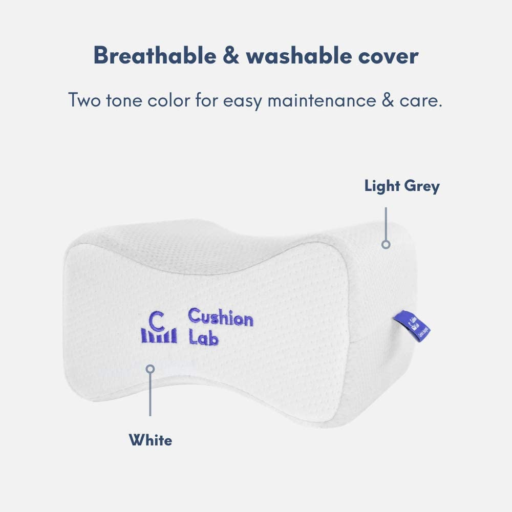 Cushion Lab Extra Dense Orthopedic Knee Pillow for Side Sleepers w/Hypoallergenic Cover - Firm Leg Support for Hip, Pregnancy, Sciatica, Joint, Spine, Back Pain Relief - Memory Foam Contour Wedge: Home & Kitchen