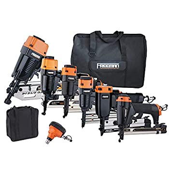 Image of Freeman P9PCK Complete Pneumatic Nail Gun Combo Kit with 21 Degree Framing Nailer and Finish Nailers, Bags, and Fasteners (9-Piece) Ergonomic and Lightweight Nail Guns Home Improvements
