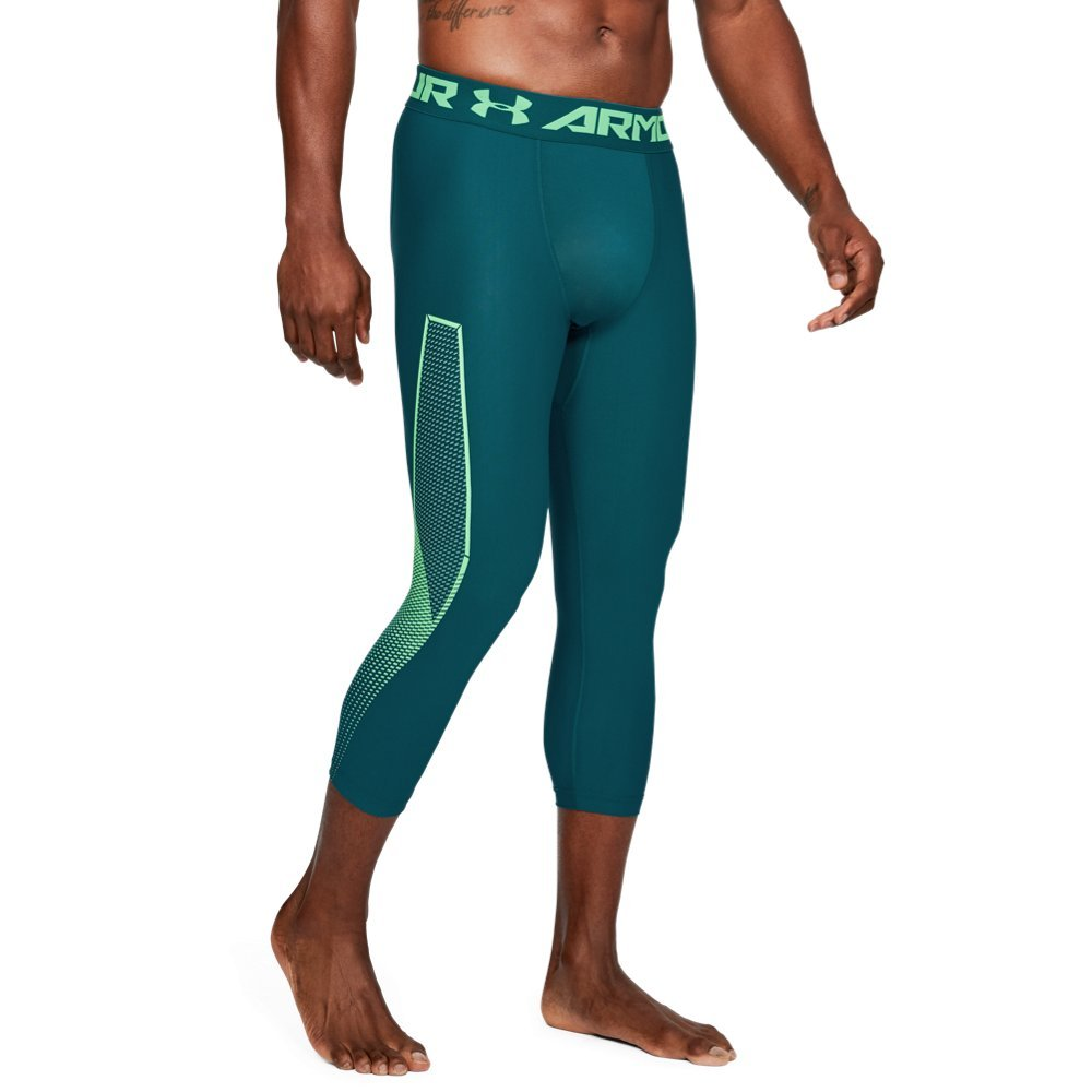 Under Armour Men's HeatGear Armour Graphic ¾ Leggings, Tourmaline Teal (716)/Arena Green, XXX-Large