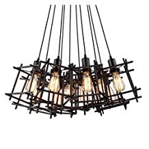 Hanging Light Small Iron Cage Rubik'S Cube Pendant Lighting Island Antique Industrial Indoor Lamps Fixture With Led Bulbs For The Home Farmhouse Bedroom Living Dining Room And House Of Bar (3 Lights)