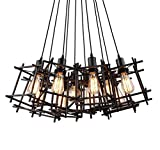 Hanging Light Small Iron Cage Rubik'S Cube Pendant Lighting Island Antique Industrial Indoor Lamps Fixture Covers With Led Bulbs For The Home Farmhouse Bedroom Living Dining Room And House Of Bar (1)