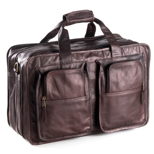 (Clava Leather Vachetta Carry On Duffel, Flight Bag in Cafe Brown)