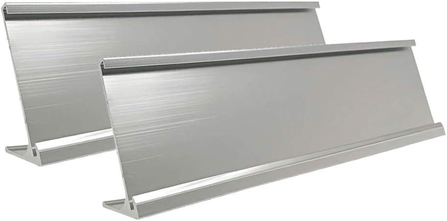 "2"" x 10"" Aluminum Desk Name Plate Holder, Office Business Desk Sign Holder Desktop 2 Pack (Silver)"