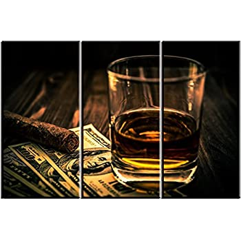 Artisweet Cigar $ Wine Canvas Wall Art for Bar, Pictures Canvas Prints Oil Paintings for Home Decoration Wall Decor Artwork