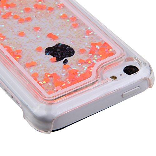 Schutzhülle für iPhone 5c, Nsstar® Pink Hard Plastic Handyhülle Transparent Clear Cystal Case Glitter Flowing Bling Sterns und Sparkles Shinny Attraktiv Hart Hülle Etui Schale für iPhone 5c