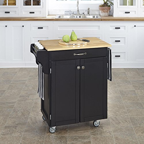Home Styles 9001-0041 Create-a-Cart 9001 Series Cuisine Cart with Natural Wood Top, Black, (Natural Wood Series Natural)