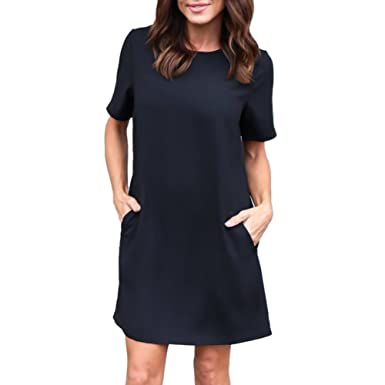 b82e4fb3d9 EFINNY Women s Short Sleeve Tunic Top T-Shirt Swing Dress with Pockets
