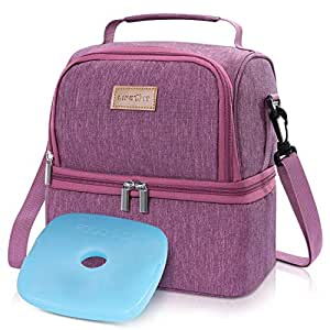Lifewit Insulated Lunch Box Lunch Bag for Adult//Women/Girls/Kids, Water-Resistant Leakproof Soft Cooler Bento Bag for Work/School/Meal Prep, Dual Compartment, 7L, Rose Pink [ with Blue Ice Pack ]