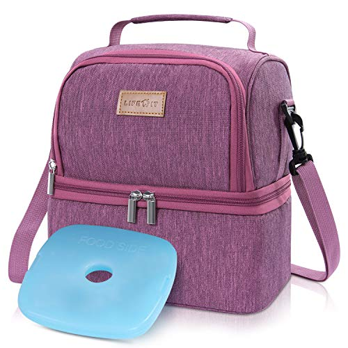 Lifewit Insulated Lunch Box Lunch Bag for Adults/Men/Women/Kids, Water-Resistant Leakproof Soft Cooler Bento Bag for Work/School/Meal Prep, Dual Compartment, 7L, Rose Pink [ with Blue Ice Pack (Ice Blue Rose)