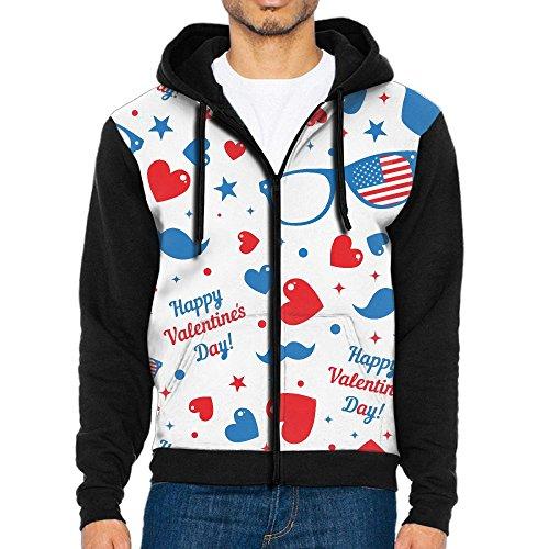 Pusong Men's Zipper Hoodie Sweater Fleeces Classic Happy Valentine's Day Glasses Drawstring Zip Jacket - Khalifa Glasses Wiz In