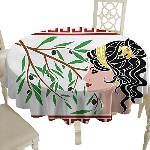 - longbuyer Round Tablecloth Vinyl Toga Party,Mythological Aphrodite Profile and Olive Branch Greek Borders Framework Print,Multicolor D70,for Accent Table