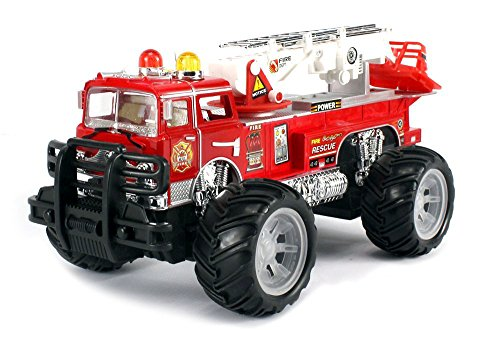 MFD Fire Off Road Rescue Electric RC Monster Truck Ready To Run RTR w/ Adjustable Rescue Crane, Extending Ladder, Working Siren Lights and Sound (Truck Monster Sound)