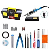 Soldering Iron Kit, VOLADOR 30-in-1 60W Temperature Control Solder Iron, 5pcs Soldering Tips, Desoldering Pump, Tweezers, Wick, Soldering Iron Stand with Cleaning Sponge and Tool Case