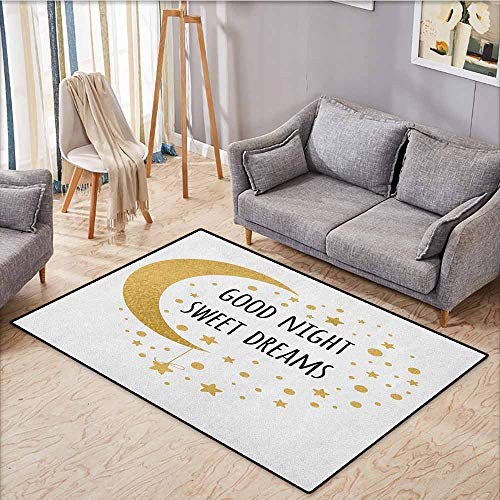 Collection Area Rug,Sweet Dreams,Cheerful Calligraphy with Moon Stars and Dots Monochrome Night Motifs,Extra Large Rug,5'3