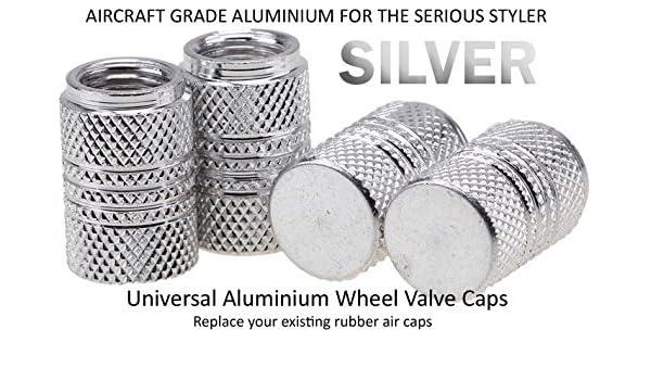 Tapones universales de aluminio para válvulas de rueda, de color plateado, adecuados para todas las marcas de coches, incluyendo Audi, BMW, VW, ...