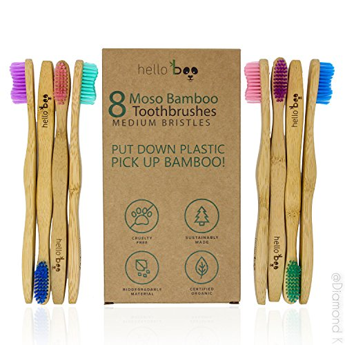 Bamboo Toothbrush – Organic Eco-Friendly Moso Bamboo Toothbrushes with Ergonomic Handles & Soft & Medium BPA Free Nylon Bristles – Pack of 8 Biodegradable Tooth Brush Set | By HELLO BOO