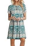 POPYOUNG Women's Summer Casual T Shirt Dresses Beach Dress M, Blue Khaki