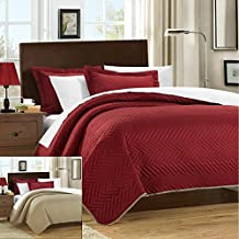 Chic Home 3 Piece Chevron Blocks Palermo Reversible Quilt, Queen, Red