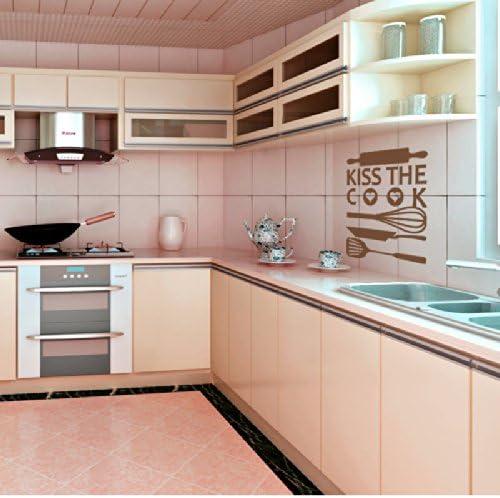 WallsUp Cocina – Señal de Kiss The Cook Set para Pared Vinilo Adhesivo Adhesivos Arte Palabras, Vinilo, marrón, 22