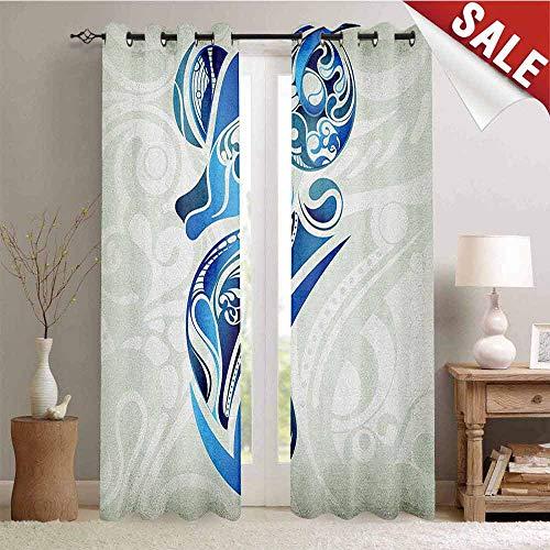 Zodiac Aries, Window Curtain Drape, Artistic Animal Figure with Floral Swirls in Blue Shades, Customized Curtains, W72 x L84 Inch Pale Sage Green Blue Indigo