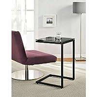 Altra Avenue Greene Modern Black Glass Top C Table, Black